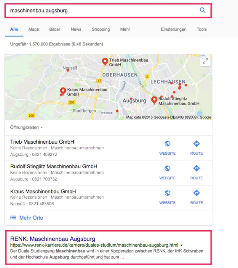 Local SEO bei Renk Maschinenbau Augsburg